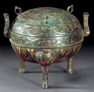 Fig. 1 Gold inlaid bronze ding, excavated from Xianyang, Shaanxi province in 1966