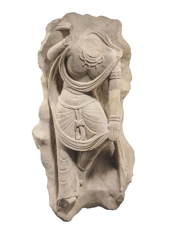 Sandstone torso of a bodhisattva