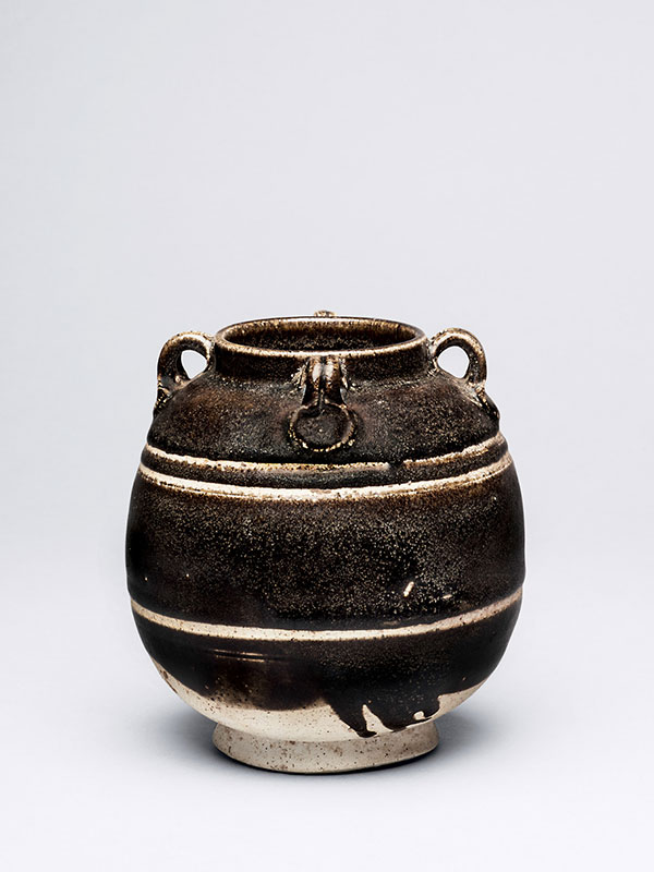 Ovoid stoneware jar with four loop handles