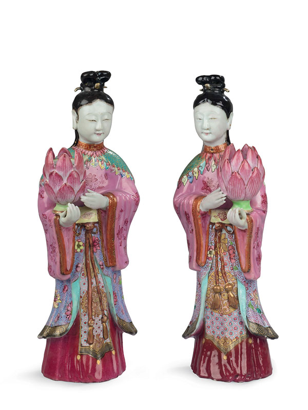 Pair of famille rose porcelain candleholders shaped as female immortals