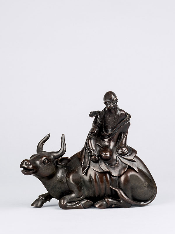 Bronze incense burner in the form of an ox with rider