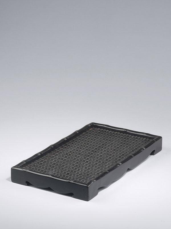 Zitan rectangular tray with woven design