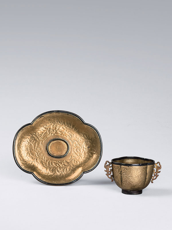 Copper cup and saucer