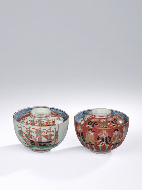 Pair of Arita porcelain bowls and covers