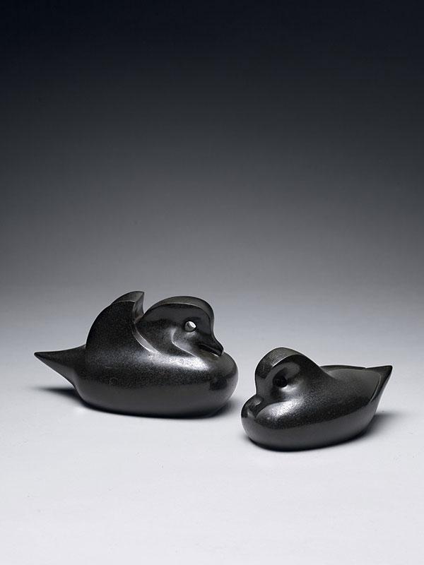 Bronze models of Mandarin ducks by Itasaka Tatsuji