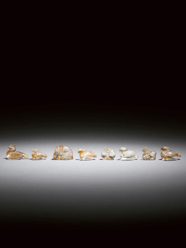 Rock crystal animal carvings