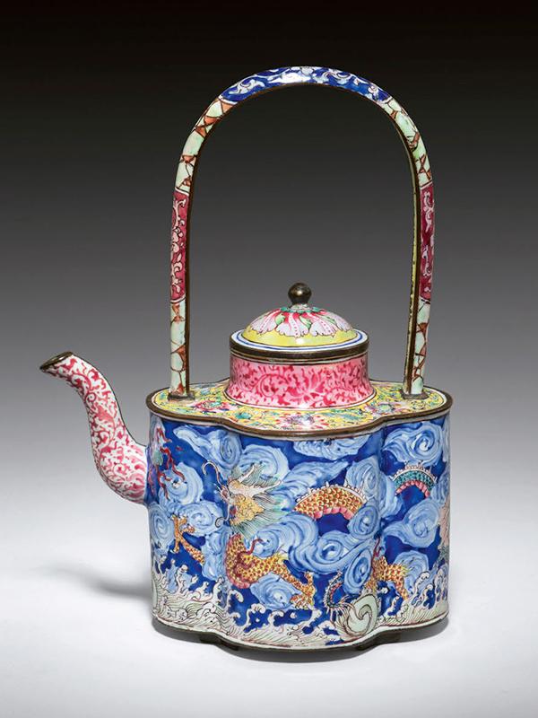 Painted enamel wine pot