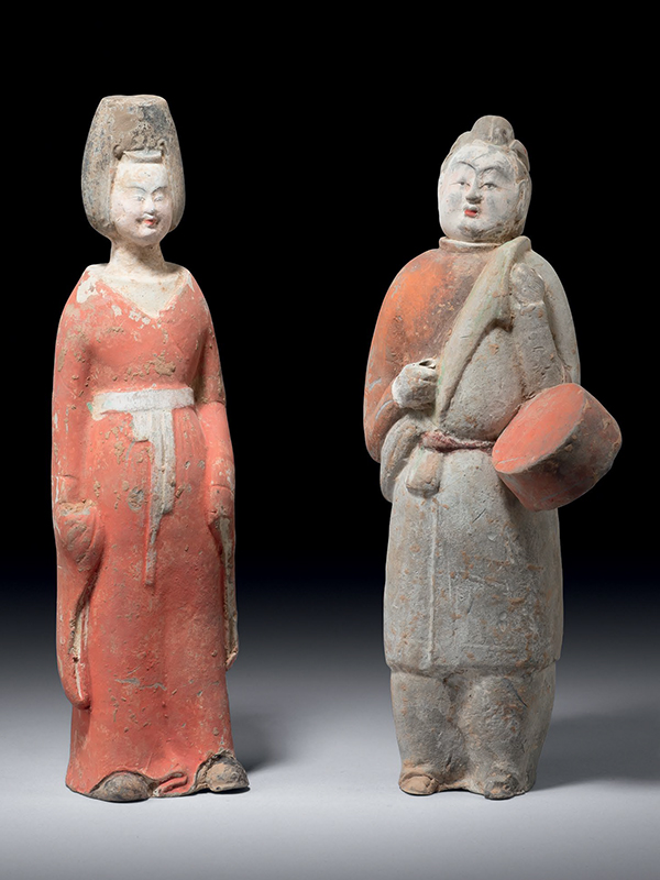 Pottery figures of a dancer and a drummer