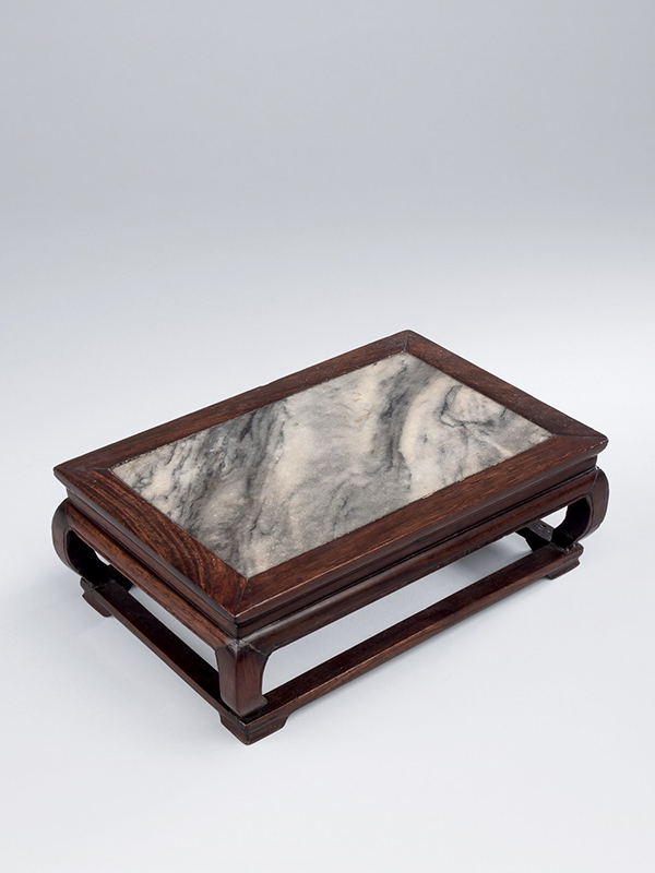 Miniature huanghuali rectangular stand with marble top