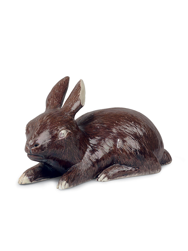 Biscuit porcelain model of a hare