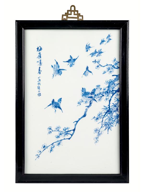 Porcelain plaque with sparrows