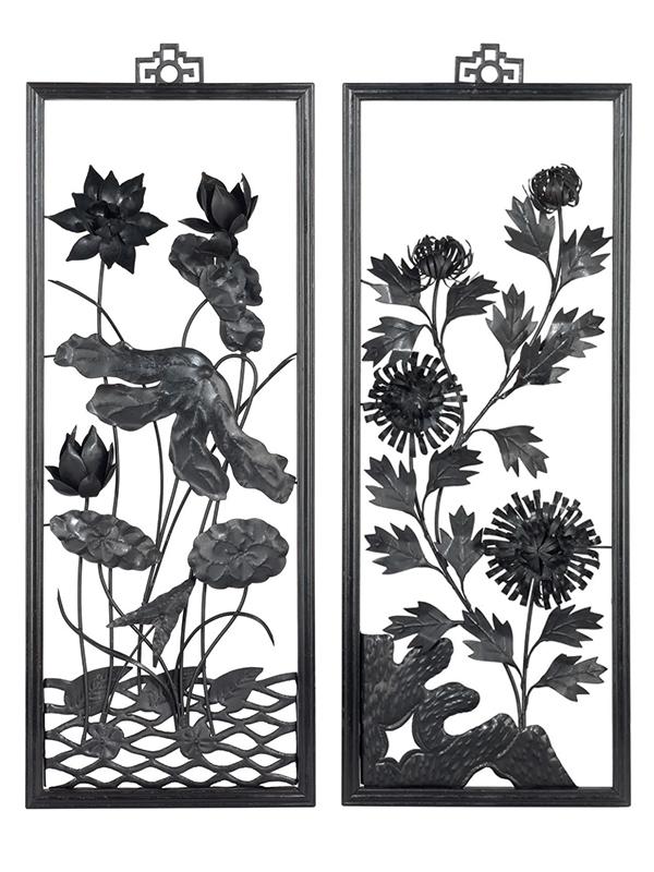 """Set of four iron """"paintings"""", tiehua"""
