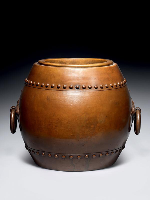 Large copper hibachi