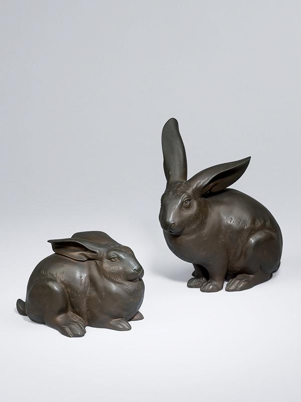 Pair of bronze okimono of rabbits