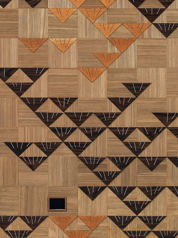 Two-fold wood panel screen entitled Spirit of Pine