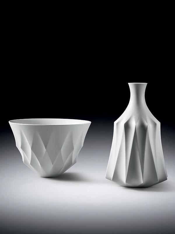 White porcelain bowl and bottle