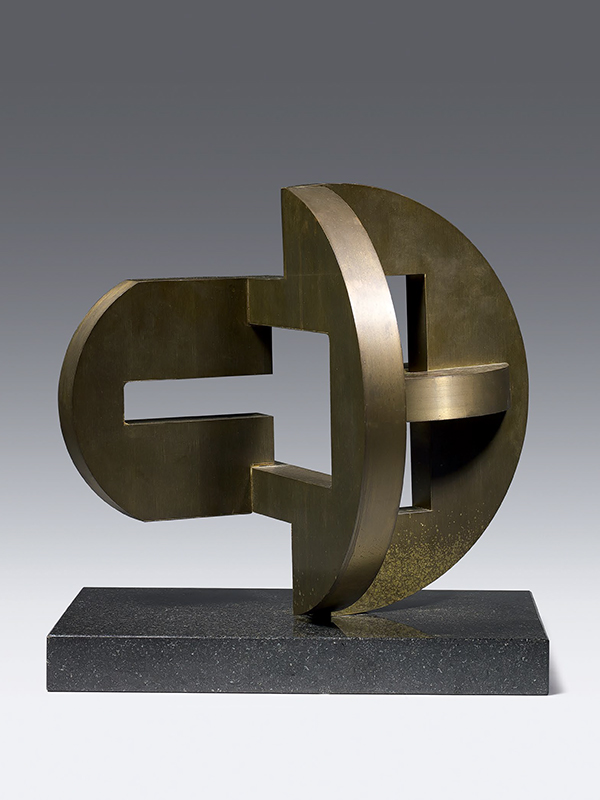 Bronze abstract sculpture on marble base