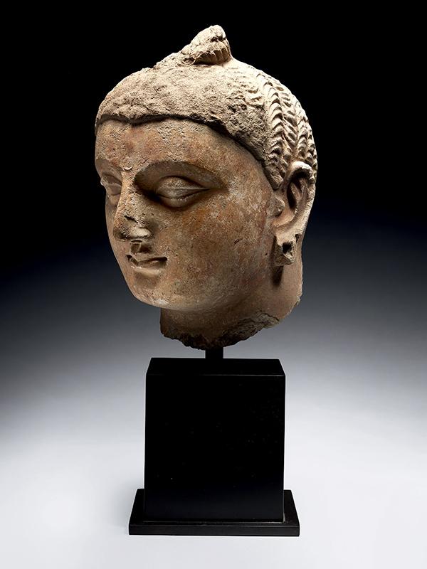 Stucco head of Buddha Shakyamuni