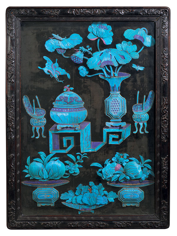 Panel applied with kingfisher feathers in zitan frame