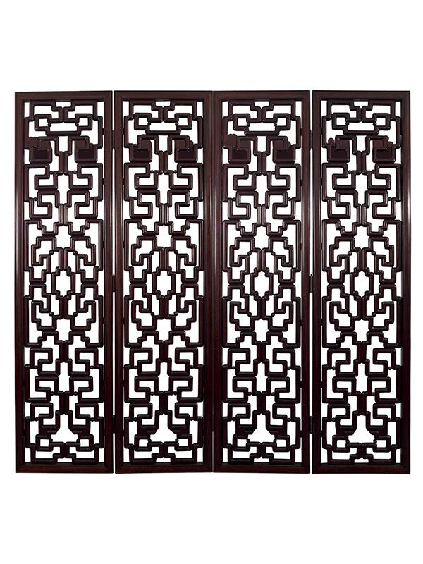 Four-leaf wooden screen