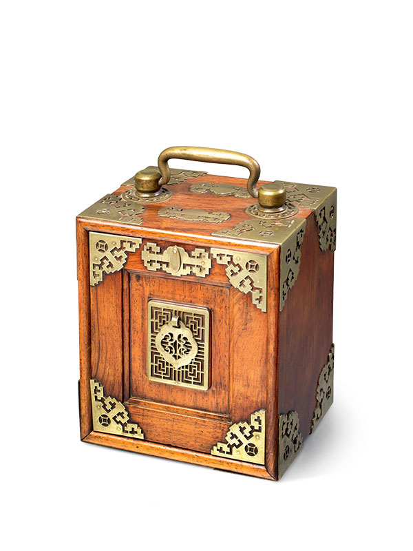Huanghuali copper mounted carrying casket
