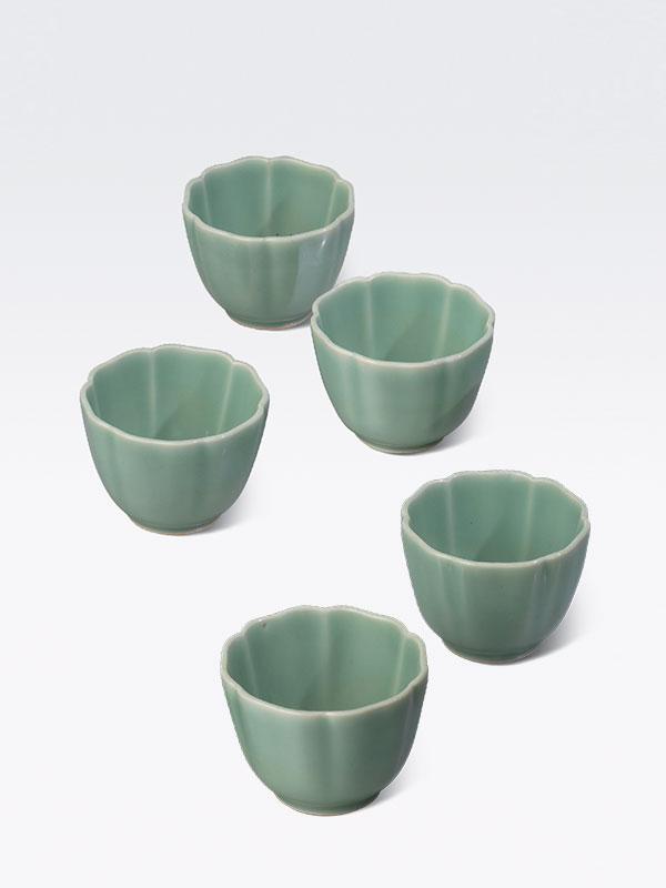 Set of five porcelain celadon cups