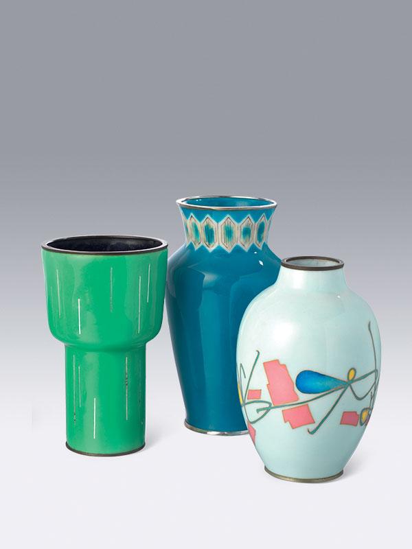 A group of five cloisonné enamel vases
