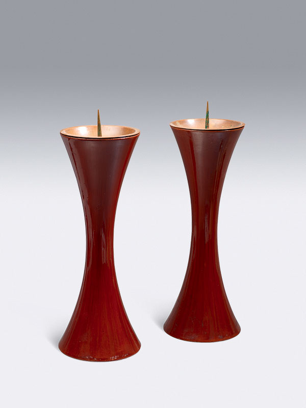 Pair of lacquered wood candlesticks