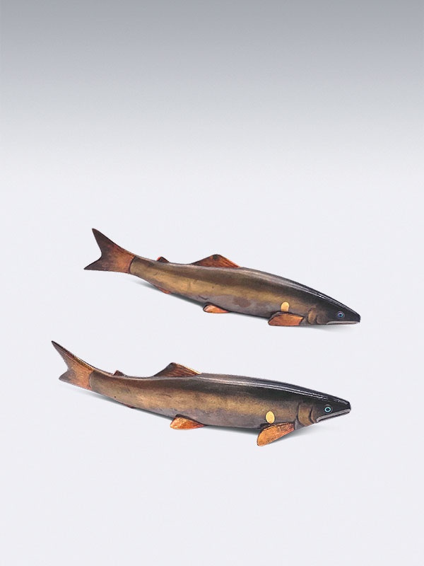 Pair of lacquer Ayu or sweetfish by Seishu