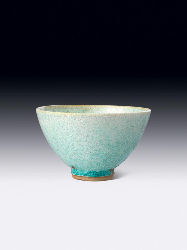 Porcelain tea bowl with blue glaze, chawan